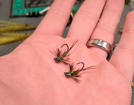 Two nymphs with Faux Bucktail bodies
