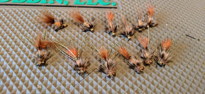 Whitlock's Fox Squirrel nymph variations - half tied BH Soft Hackle, half tied like Carp Bitters.